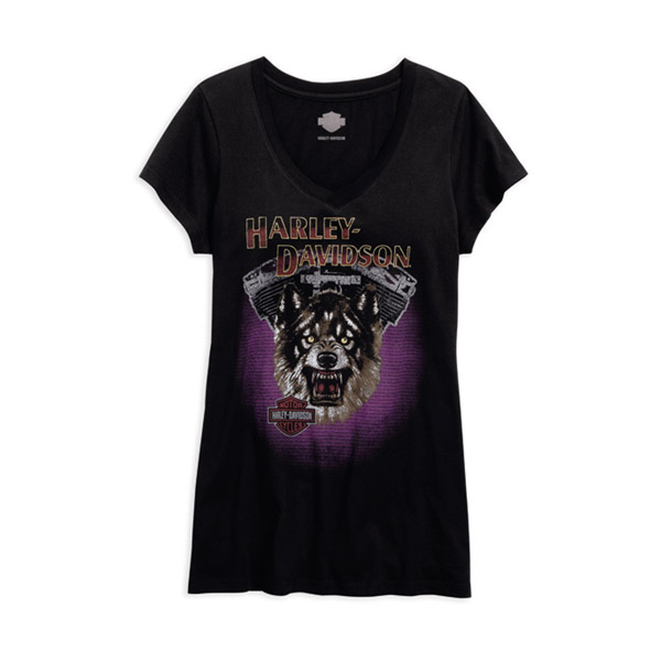 Womens Engine Wolf V-Neck Black Short Sleeve T-Shirt