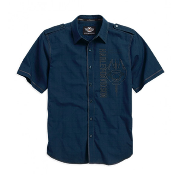 Mens Willie G Skull Wrinkle-Resistant Textured Blue Short Sleeve Woven Shirt