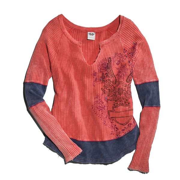 Womens pieced waffle knit eagle Long sleeve shirt