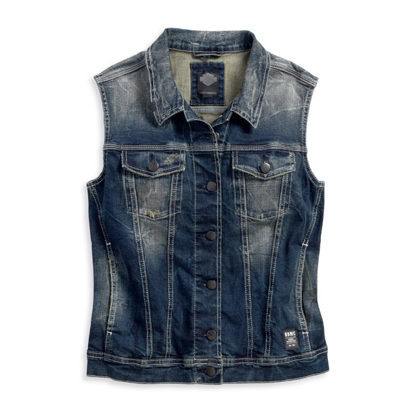 96368-16VW - Harley-Davidson® Slim Fit Womens Button Front Distressed Washing Denim Blue Vest