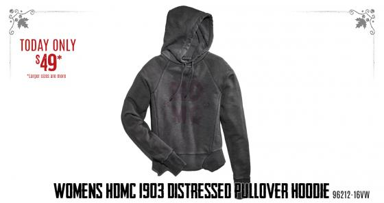 Womens HDMC 1903 Distressed Pullover Hoodie